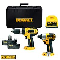 DeWalt DCX424A2 18v cordless combi hammer drill and impact driver, with batteries and case.